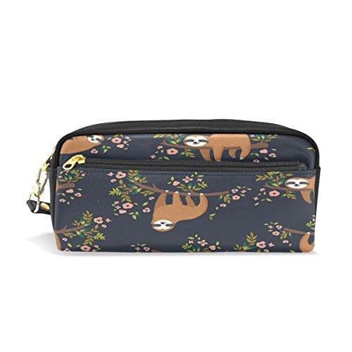 WOZO Sloth Flower Floral Pen Pencil Case Makeup Cosmetic Pouch Case Travel Bag