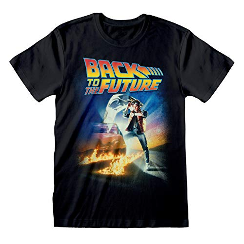Back To The Future Movie Poster T-Shirt da Uomo Nero M | S-XXL, 1980 Movie Carattere Girocollo Graphic Tee, Idea Regalo di Compleanno per i Ragazzi, per casa o in Palestra