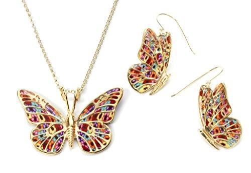 Conjunto de pendientes y collar de oro con mariposas - Joya millefiori para mujer - Dijes en arcilla polimérica - Regalo romántico para ella hecho a mano