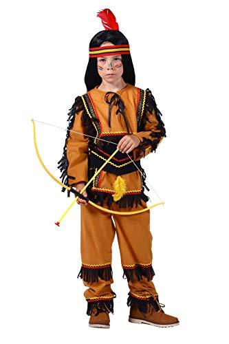 Indianer-Kostüm Kinder Jungen beige braun Oberteil und Hose mit Gummizug Adler Falke Apache Karneval Fasching Hochwertige Verkleidung Größe 128 Braun