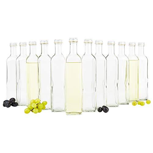 12er Set Vierkantflasche Marasca 500 ml + Silberne Schraubdeckel I edle Likörflasche I Schnapsflasche für Alkohol & Spirituosen I Flakon I Essig & Öl