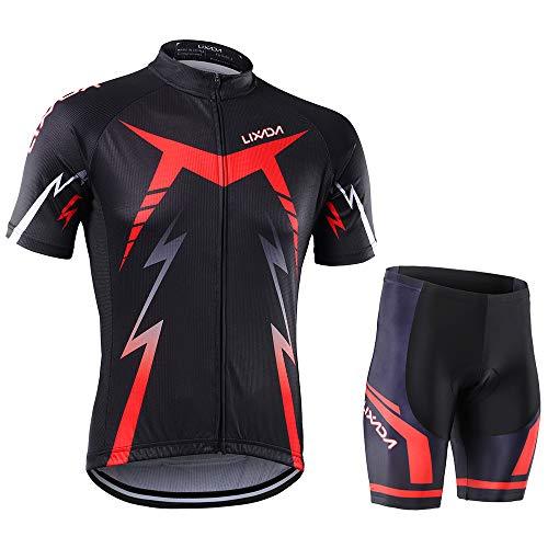 Lixada Fahrradkleidung Fahrradtuch Set Fahrradhemd Shorts Fahrrad Kurzarm Set mit Kissenschutz