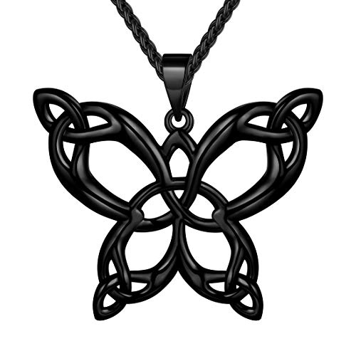 beautlace Butterfly Necklaces Celtic Knot Pendant Black Gun Plated Animals Necklace Jewelry Gifts for Men and Women KP0062K