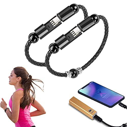 ZURITI Cable de Carga de Pulsera de Cuentas de oración, Cable USB de Cargador de Pulsera, Cable de Carga portátil Trenzado de Cuero Duradero para Cargar teléfonos móviles B