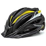 VICTGOAL Casco Bicicleta Adulto Unisexo para Ciclismo MTB Road Race Montaña Casco con Luz Trasera LED Visera Extraíble Hombres Mujeres Adultos Casco (Amarillo Negro)