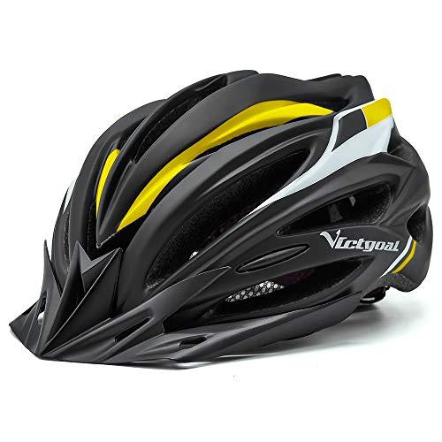 VICTGOAL Fahrradhelm Herren Damen MTB Mountainbike Helm mit Visier Abnehmbarer Sonnenschutzkappe und LED licht Radhelm Fahrradhelme für Erwachsenen 57-61 cm (Schwarz Gelb)