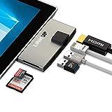 LINKUP 6-in-1ネットワークアダプター メモリーカードリーダー USB 3.0ハブコンボアダプター+4K HDMI、ギガビットイーサネット、SD/マイクロ SDカードスロット、2×USB 3.0ポート Microsoft Surface Pro 4対応