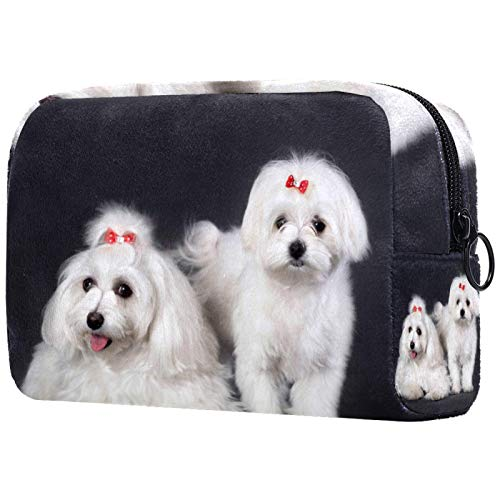 Kosmetiktasche Reise-Toilettenartikel für Frauen Tägliche tragbare Reißverschlusstasche mit Reißverschluss,Paar Bichon Malteser Hund