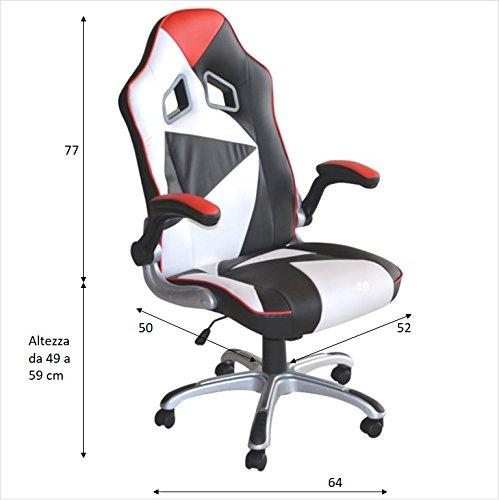 Polironeshop Stuhl Montecarlo für Gaming im Racing-Stil, Bürostuhl für den Arbeitsplatz und Zuhause, Computermöbel Nero - Bianco - Rosso