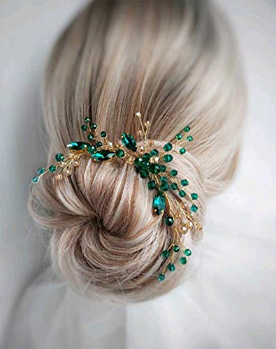 Deniferymakeup Braut-Haarnadel Smaragd Gold Haarteil Smaragd Haarspange Gold Grün Haarspange Smaragd Kopfschmuck Gold Hochzeit Haarschmuck