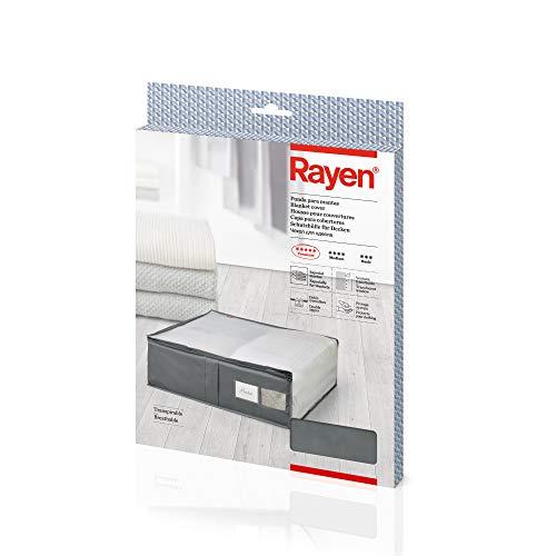 Rayen - Caja de almacenaje de ropa y mantas de cama. Bolsa de tela para ropa con cremallera, rejilla transpirable, plegable y resistente. 55 x 65 x 20 cm. Gris Oscuro/Translúcido