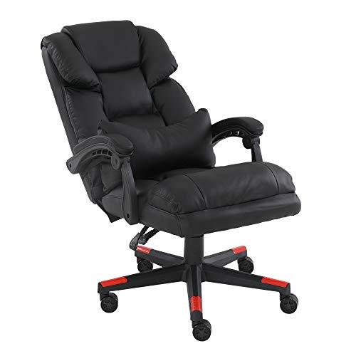 Bürostuhl aus Leder, mit hoher Rückenlehne, verstellbar, ergonomisch, Chefsessel, Gaming-Stuhl, Drehgelenk, mit Lendenwirbelstütze und Kopfstütze, gepolsterte Armlehnen für Erwachsene