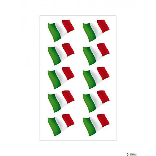 StickersLab 10-Pegatinas de vinilo, diseño de la bandera Italiana ultra resistente para moto vespa coche fiat 500 casco 3,5 cm X 1 cm