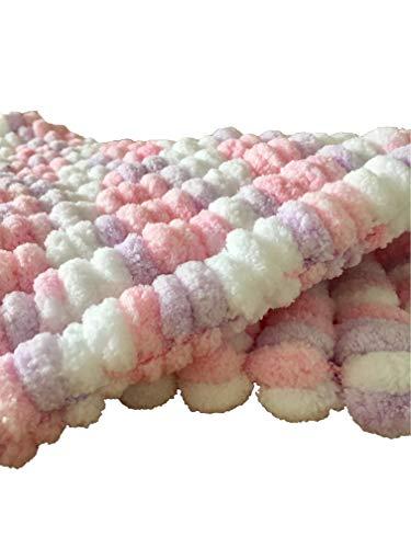 Mantas de lujo del bebé del pompón (blanco/amarillo)