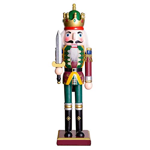 gerFogoo Cascanueces de madera impresa marioneta de nogal, decoración del árbol de Navidad, cascanueces, figura...