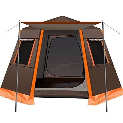 SCAYK UV Hexagonal Aluminio Pole Automático Al Aire Libre Camping Wild Tienda Big Tienda 3-4Persones Toldo Jardín Pérgola 245 * 245 * 165cm Pesca Tent Tent Tents Blackout Tent Tent (Color : Coffee)