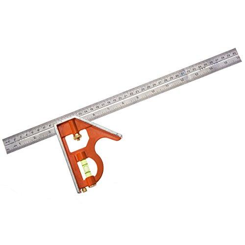 Bahco CS400 BHCS400 Kombinationswinkel 400mm metrisch/Zoll markiert 45°/90°, Orange, 400 mm