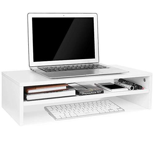 01 02 015 Houten monitor standaard scherm lifter desktop opslag rek, desktop notebook desktop lade, met 2 planken, wit 54x25.5x14cm A++