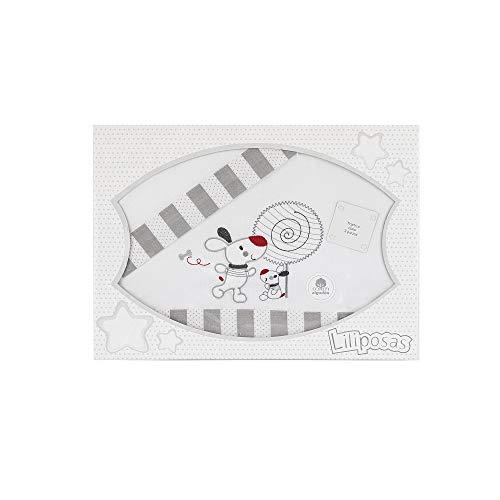 Triptico Sabanas 100% Algodón Minicuna 50X80 - (bajera+encimera+funda almohada) (Piruleta gris)