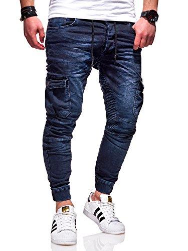 Rello & Reese Herren Biker Jogger-Jeans Hose RJ-3207 (Dunkelblau, W32/L32)