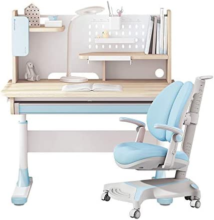 FCD Adjustable Height Kids Study Desk with Chair Drafting Table Computer Station Built in Bookshelf product image