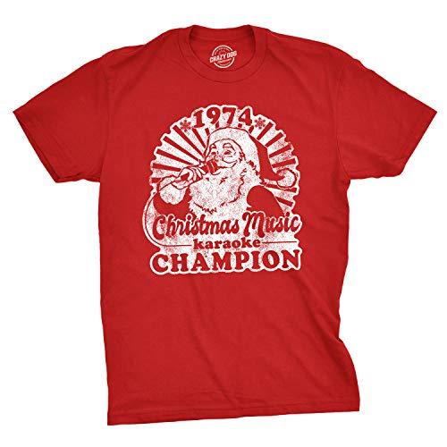 Mens 1974 Christmas Music Karaoke Champion Tshirt Funny Santa Tee Red L