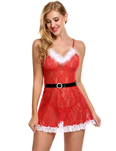 Avidlove Damen Weihnachts Lingerie Sexy Transparent Dessous Set Kostüm Xmas Nikolaus Wäsche mit G-String Gürtel (L, Rot1)