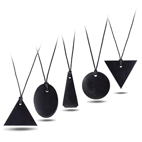 Heka Naturals 5 Piece Shungite Pendant Necklace Set, Gift Set of Trendy Shungite Jewelry | Authentic Karelian Shungite Crystals | Set of 5 (Triangle, Reverse Triangle, Small Oval, Small Circle, Bell)
