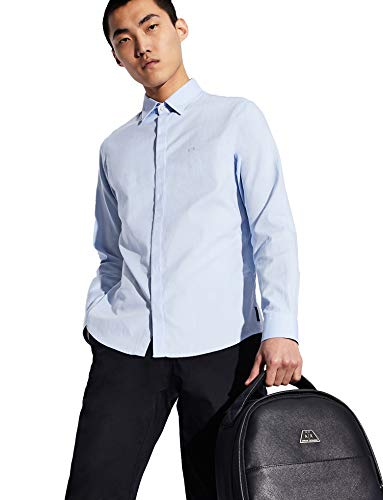 ARMANI EXCHANGE 8nzcbg Camicia Formale, Blu (Light Bluew/Blue/Wht 0536), X-Small Uomo