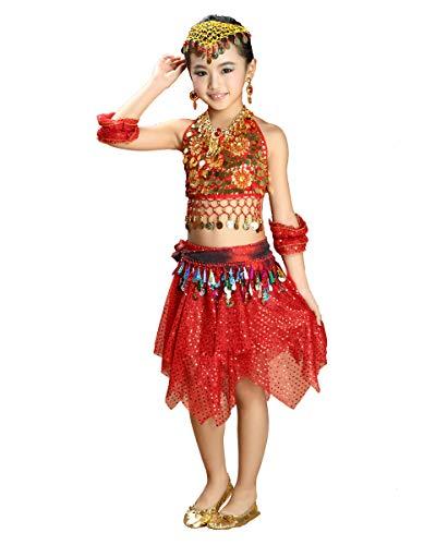 Grouptap Bollywood Indien Baby Mädchen Kinder kleine Prinzessin arabischen Bauchtanz Kleid Kostüm rot Top Rock Phantasie Kind Outfit (100-140 cm) (Rot, Einheitsgröße)