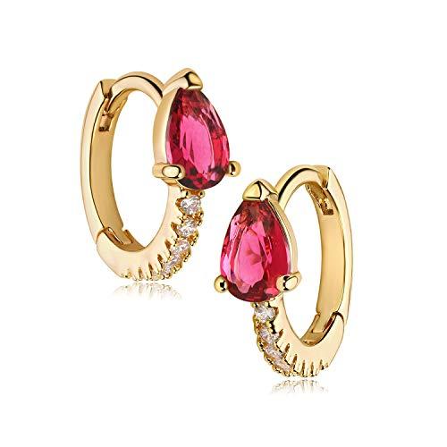 MYEARS Women Gold Huggie Hoop Earrings Ear Stud Cuff Rosy Red Crystal Teardrop Sleeper Half Diamond CZ 14K Gold Filled Tiny Boho Beach Simple Delicate Handmade Hypoallergenic Jewelry Gift