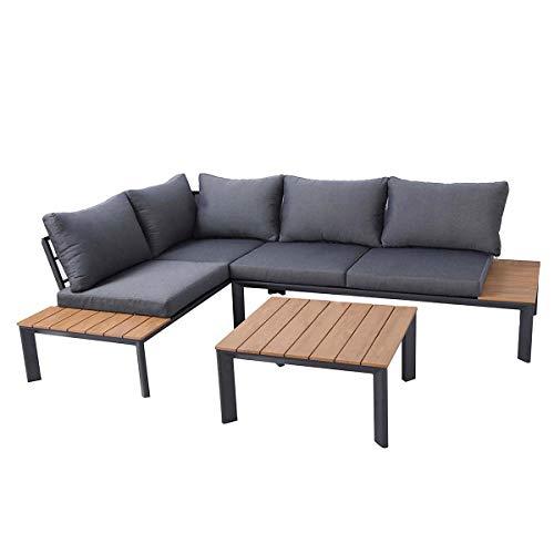 Charles Bentley Conjunto Lounge Hecho de Poliamida / Aluminio con Asiento Reclinable / Sofá de Esquina Grande y Mesa de Centro