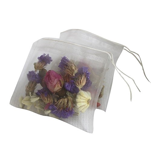 Lucklovely Empty Heat Sealing Nylon Tea Filter Bags with String for Loose Tea 2.63'2.76' 100Pcs