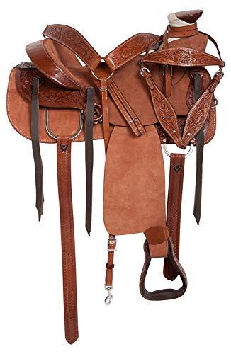 Deen, Enterprises, Wade Tree A Fork Premium Westervn cuero cuerda rancho trabajo caballo silla de montar tamaño 14 a 18 pulgadas asiento disponible (asiento de 47 pulgadas) (asiento de 16.5 pulgadas)