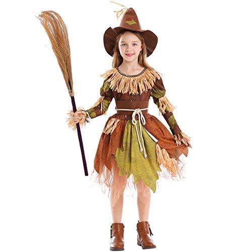 Halloween Kind Angst Vogelscheuche Dress Up Kostüm Langarm Fransen Kleid,Braun,M