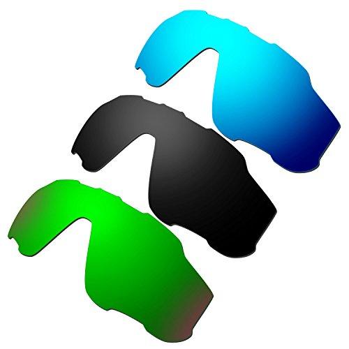 HKUCO Mens Replacement Lenses For Oakley Jawbreaker Blue/Black/Emerald Green Sunglasses