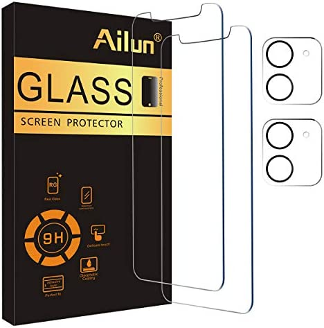Photo of Ailun 2 Pack Screen Protector Compatible for iPhone 12 Mini [5.4 inch] with 2 Pack Tempered Glass Camera Lens Protector,Tempered Glass Film,[9H Hardness]-HD