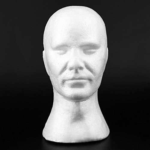 SeniorMar-UK Creative Hommes mâle Lisse Mannequin tête modèle Perruque Chapeau Lunettes Casquettes Affichage Bulle Mannequin tête avec Oreilles