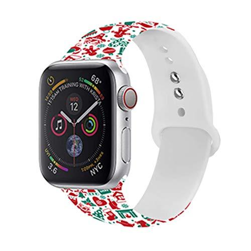 Correa de silicona navideña para Apple Watch band 44mm 40mm 42mm 38mm Correa de pulsera de goma de dibujos animados para iwatch apple watch 6 5 4 3 2
