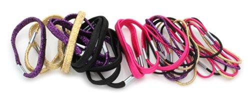 30 Hair Bands Hair Elastics Black Purple Hot Pink & Gold Lurex By Zest by Zest