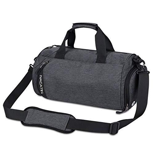 NACATIN Gym Bag, Water-resistant Sports Duffel Bag Training Handbag with Shoe Compartment, Large Travel Shoulder Tote Bag for Men, Women (Dark Grey)