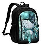 COLORFULSKY Fashion Backpack for Girls Boys Wolf Dream Catcher Print Cute School Bag Daypack with USB Charging Port