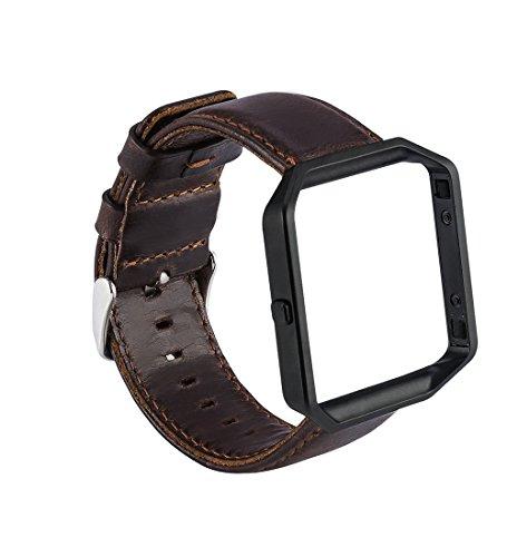 MroTech Compatible para Fitbit Blaze Correa con Marco Correa de Reloj de Cuero Genuino Vintage Pulseras de Repuesto Compatible Fitbit Blaze Smartwatch (Pulsera Café, Marco Negro)
