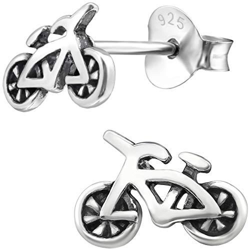 JAYARE Boucles d'oreilles Enfants vélo bicyclette 5 x 9 mm argent sterling 925 oxydé argenté avec étui de cadeau clou d'oreilles fille