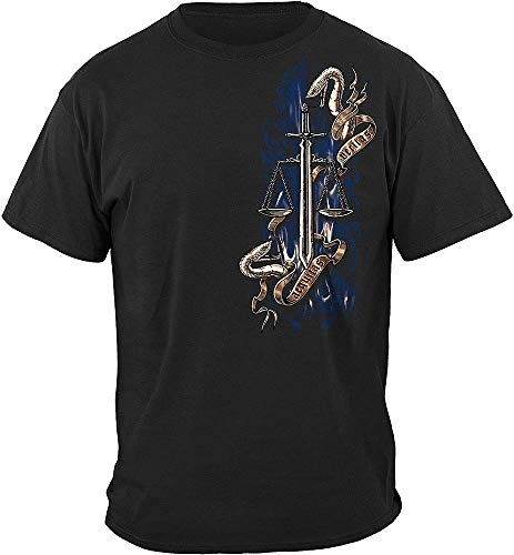 Aequitas Veritas Tattoo Police Protect and Serve and Favour Withour Fear T Shirt (3XL) Black