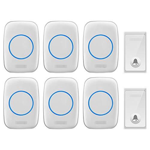 Zelfaangedreven draadloze deurbel, 2 zenders, 6 ontvangers, waterdichte plug-in draadloze deurbelset met 650 voet bereik, 58 klokken, 4 niveaus, volume en blauw licht,White