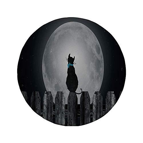 Rutschfreies Gummi-Rundmaus-Pad Mond Silhouette einer Katze die zum Vollmond schaut während sie auf dem Zaun sitzt Tierdekorativ Schwarz Hellgrau Blau 7.9
