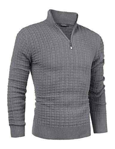COOFANDY Men's Quarter Zip Sweaters Slim Fit Lightweight Cotton Mock Turtleneck Pullover Grey