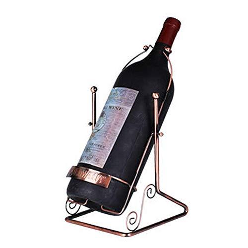 Hyy-YY - Estante de vino para botellas de vino, estilo columpio, soporte para botellas de vino, de metal independiente, color cobre barroco, diseño vintage para el hogar