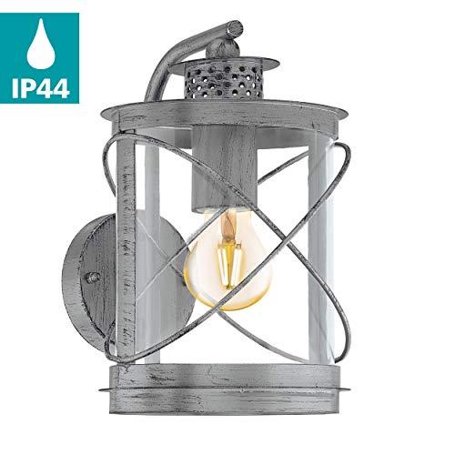 EGLO Außen-Wandlampe Hilburn 1, 1 flammige Außenleuchte, Wandleuchte aus verzinktem Stahl und Kunststoff, Farbe: Silber-antik, Fassung: E27, IP44
